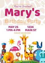 Load image into Gallery viewer, Zoo Animal Pink Birthday Party Invitation-Sunny Jar Designs