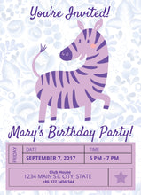 Load image into Gallery viewer, Purple Zebra Birthday Party Invitation