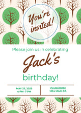 Load image into Gallery viewer, Green Tree Birthday Party Invitation -Shop for Green Tree Birthday Party Invitation