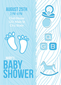 Baby Boy Footprint Shower Party Invitation-Sunny Jar Designs