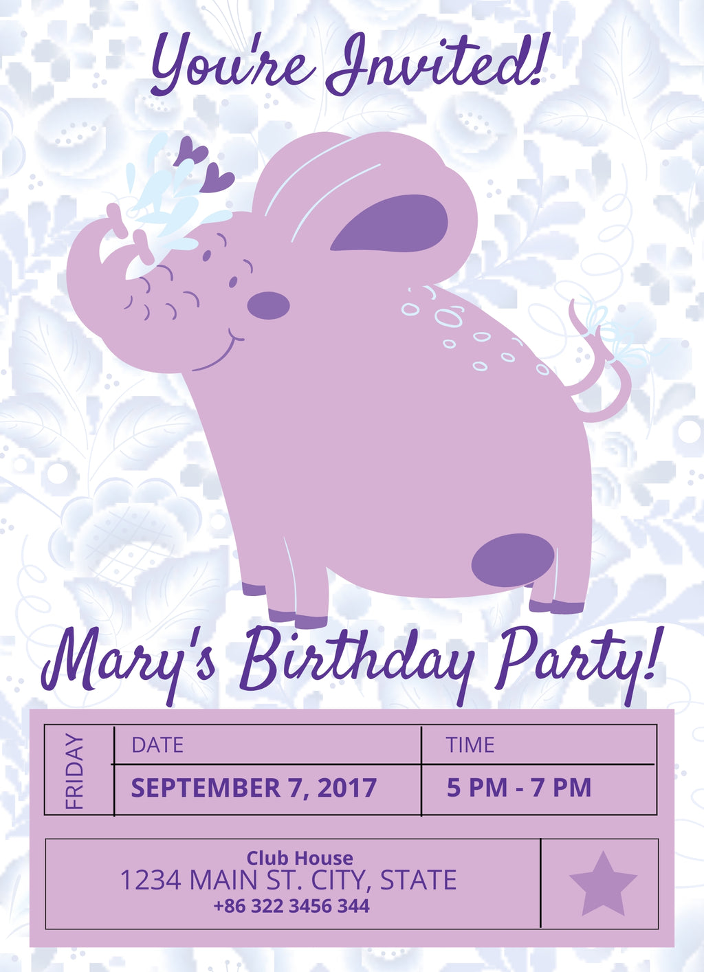 Purple Elephant  Birthday Invitation-Editable Download - sunny-jar-designs