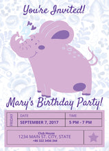Load image into Gallery viewer, Purple Elephant Birthday Party Invitation-Sunny Jar Designs