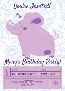 Purple Elephant Birthday Party Invitation-Sunny Jar Designs