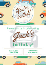 Load image into Gallery viewer, Cars Birthday Party Invitation - Sunny Jar Designs