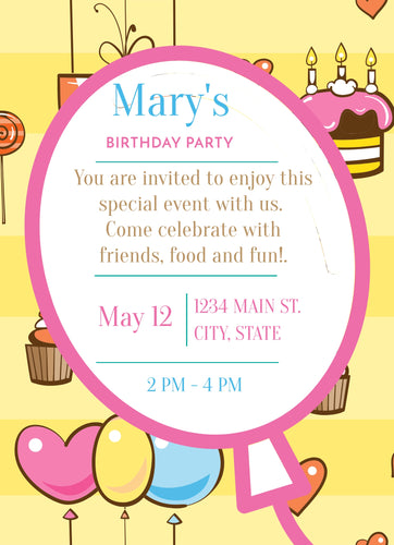 Cupcakes Birthday Party Invitation - Custom Design Party Invites and Personalized Announcements