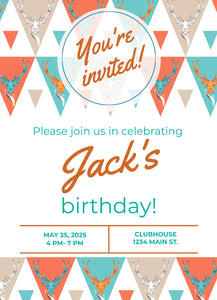 Orange Deer Birthday Party Invitation-Sunny Jar Designs