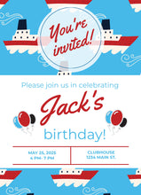 Load image into Gallery viewer, Boating Birthday Party Invitation - Sunny Jar Designs
