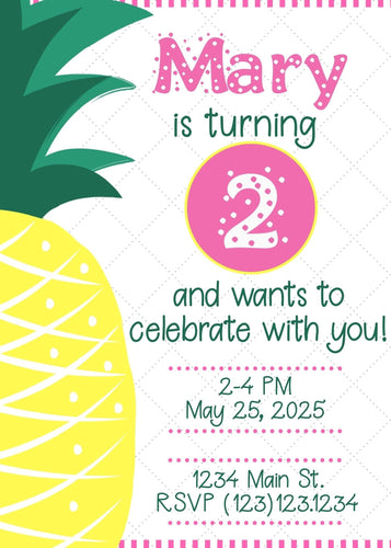 Pineapple Birthday Party Invitation - Custom Design Party Invites and Personalized Announcements