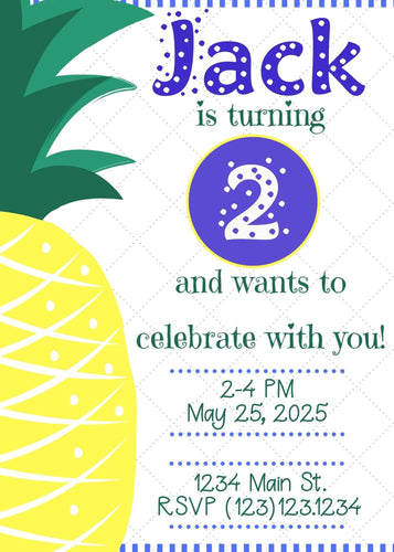 Pineapple Blue Birthday Party Invitation - Custom Design Party Invites and Personalized Announcements