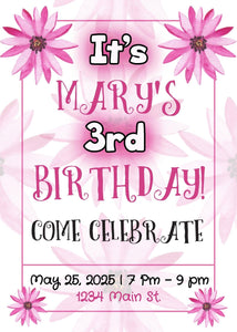 Hot Pink Flower Birthday Party Invitation-Sunny Jar Designs