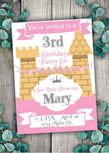 Load image into Gallery viewer, Pink Castle Party Invitation