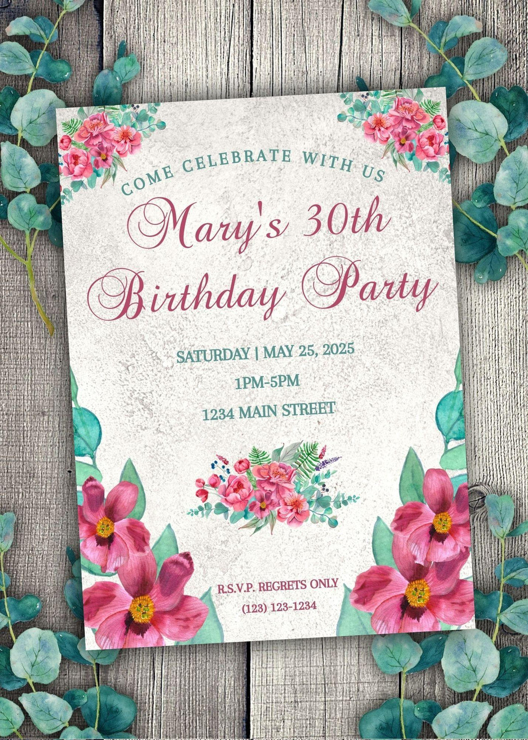 Pink Peony Birthday Invitation