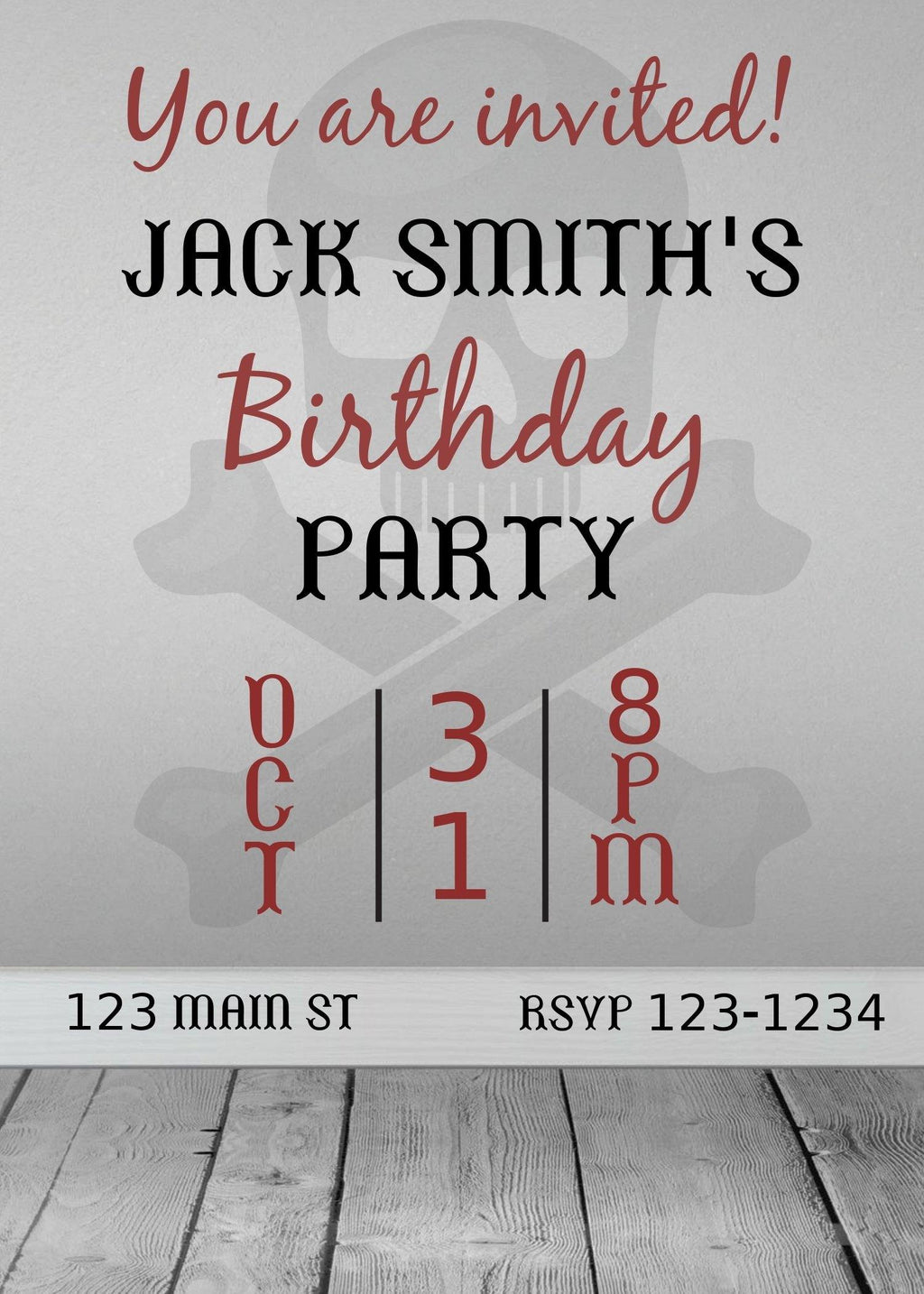 Scary  Birthday Invitation Editable Download - sunny-jar-designs