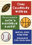 Sports Theme Birthday Invitation (Editable Download) - sunny-jar-designs
