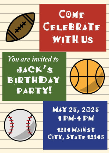 Sports Theme Birthday Party Invitation - Custom Design Party Invites and Personalized Announcements
