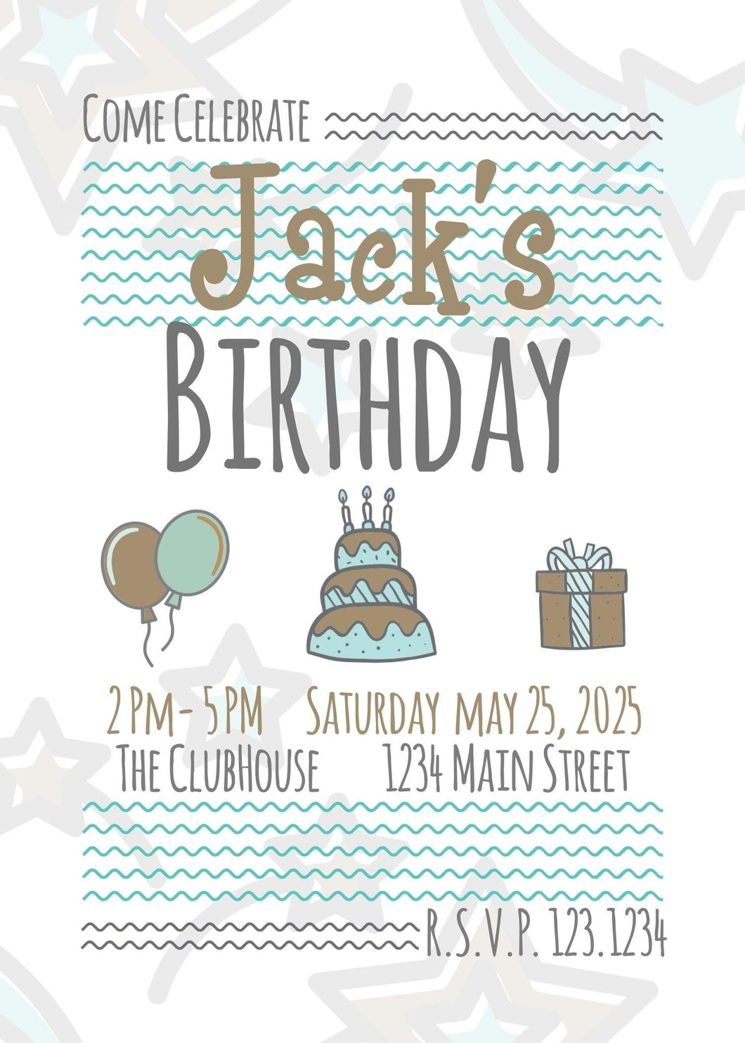 Starry Birthday Party Invitation - Custom Design Party Invites and Personalized Announcements