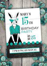 Load image into Gallery viewer, Milestone Teal Bunny Party Invitation