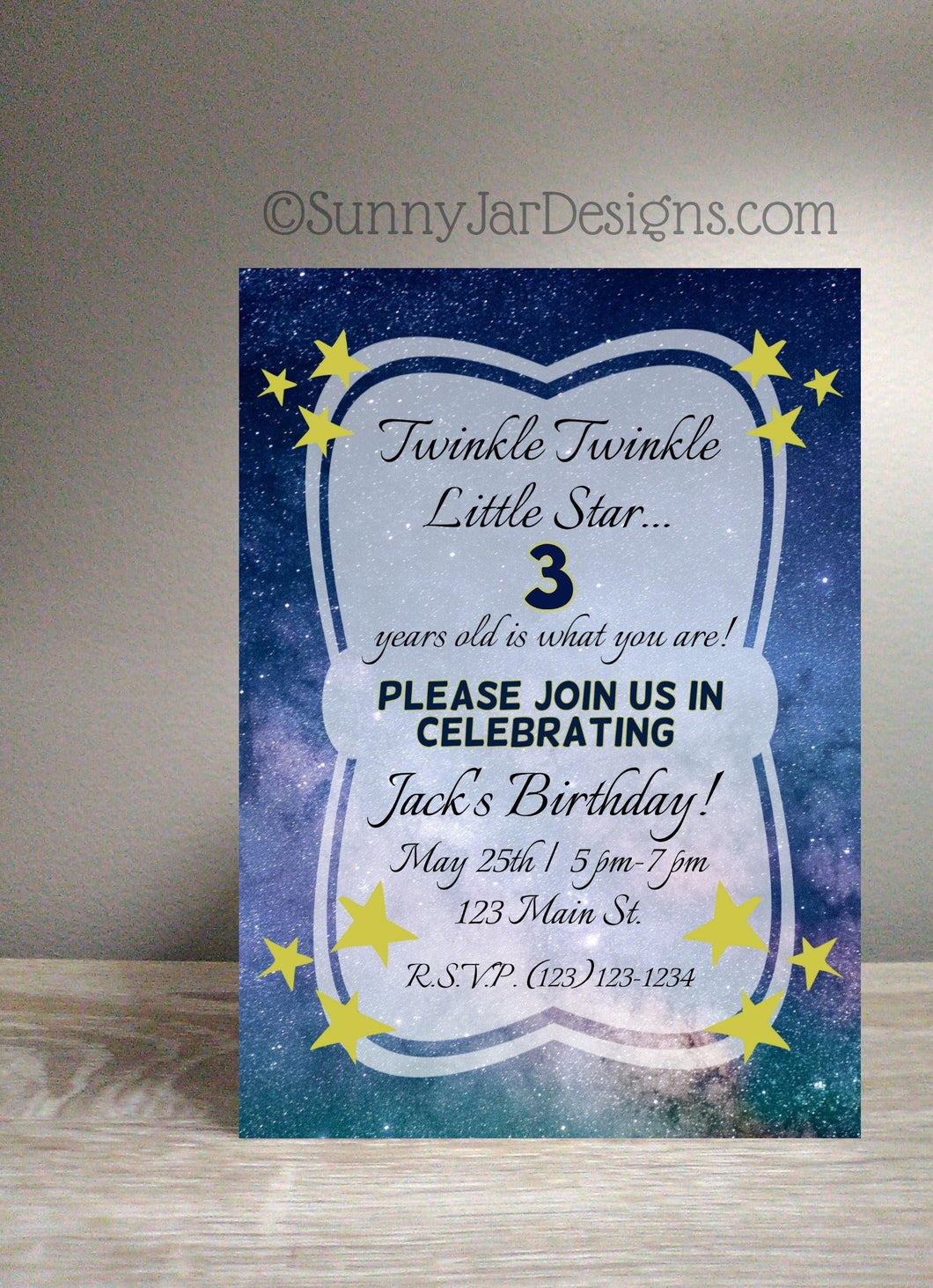 Twinkle Little Star Birthday Party Invitation-Sunny Jar Designs