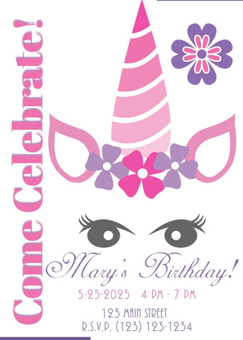 Unicorn Face Birthday Party Invitation