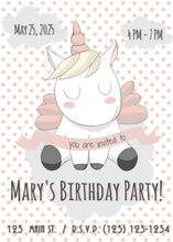 Load image into Gallery viewer, Unicorn w Polka Dots Party Invitation-Sunny Jar Designs