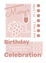 Load image into Gallery viewer, Wine Design Party Invitation-Sunny Jar Designs