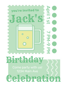 Beer Mug Birthday Party Invitation