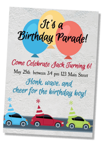 Car Parade Birthday Invitation