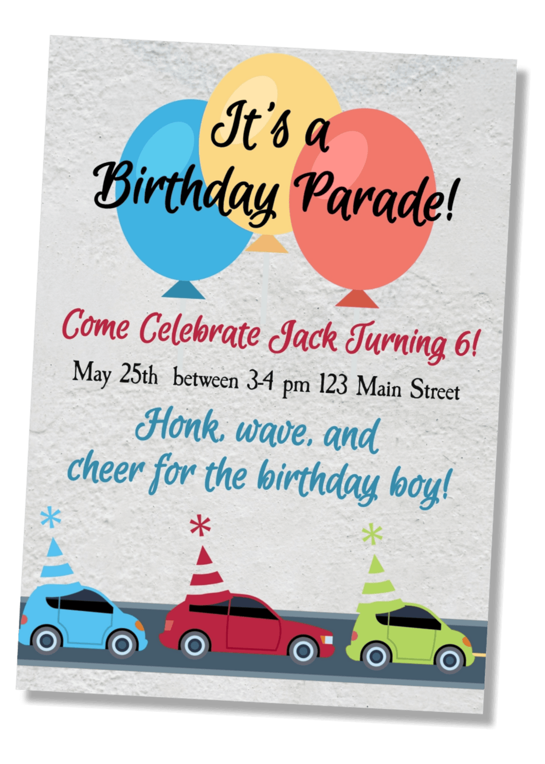 Car Parade Birthday Invitation - Sunny Jar Designs