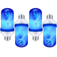 Load image into Gallery viewer, CPPSLEE Led Flame Effect Light Bulb, 4 Modes Flame Lights Bulbs, E26 Base Fire Light Bulbs with Gravity Sensor, Christmas Decorations Flickering Light Bulb for Indoor and Outdoor (Blue, 4pcs)