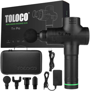 TOLOCO massage gun-T11 Pro upgraded version of handheld deep tissue muscle massager, sports drill portable ultra-quiet brushless motor.🔥