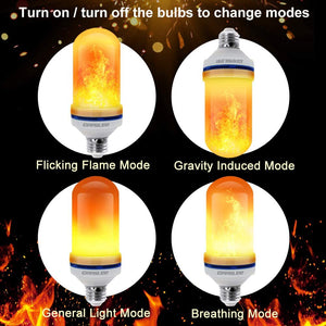 CPPSLEE - LED Flame Effect Light Bulb - 4 Modes Flame Light Bulbs with Gravity Sensor - E26 Base Christmas Decorations Flame Light Bulbs for Indoor/Outdoor/Hotel/Bar/Party Christmas Decor(2 Pack)