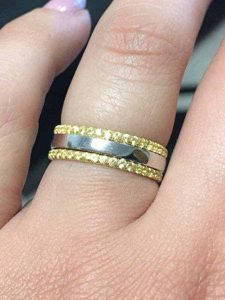 Three Sapphire Eternity Bands 14K Pave Sapphire Half Eternity Rings 1.6mm Three Tone Pave Bands 14K Tri Color Stacking Rings Set of Bands