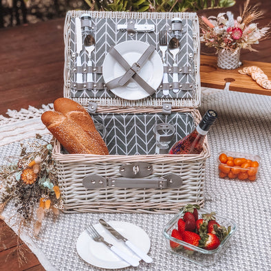 Grey Wash Picnic Basket