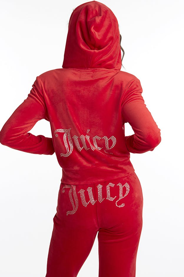 JUICY COUTURE LONG SLEEVE ZIPPER FRONT HOODIE Womens Apparel