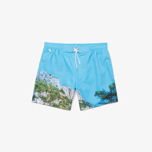 LACOSTE Lace-Up Waist Print Swimming Trunks Mens Apparel
