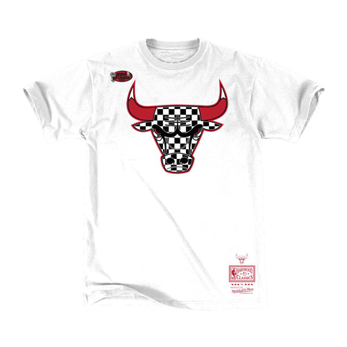 Mitchell & Ness Checkered Fill Logo Tee Chicago Bulls Mens Apparel