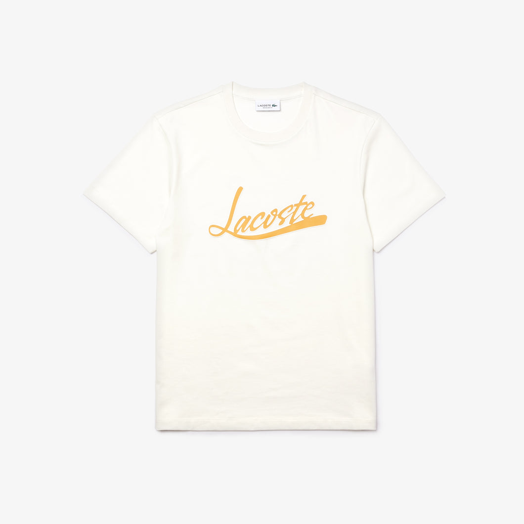 LACOSTE Regular Fit Script Crew Neck Cotton Tee Mens Apparel