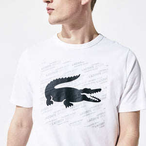 LACOSTE SPORT Reflective Logo-Print Cotton T-Shirt Mens Apparel