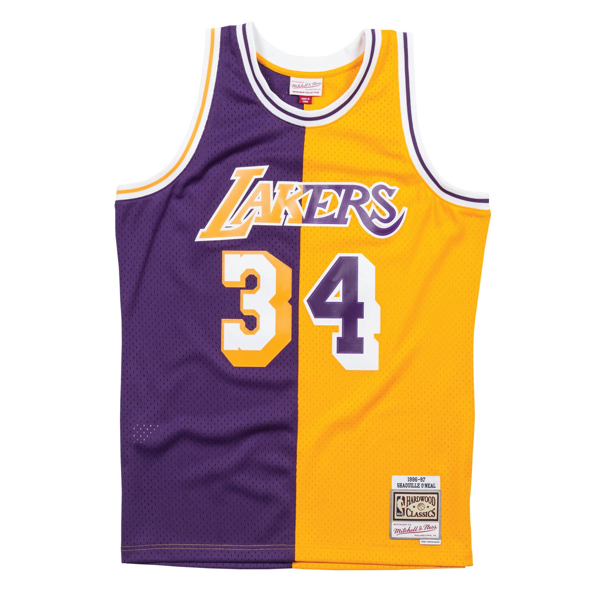 34d3859b0 Mitchell   Ness Split Home   Away Swingman Jersey Los Angeles Lakers 1996-97  Shaquille ...