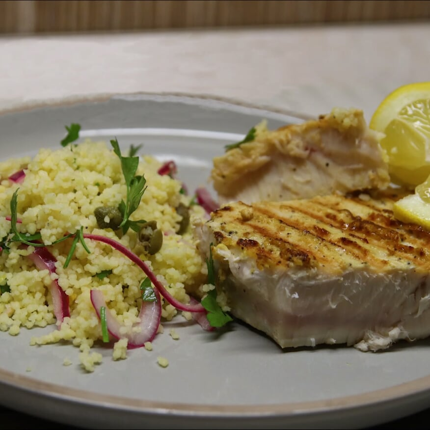 Hot Mustard Grilled Tuna Steaks with Herby Couscous