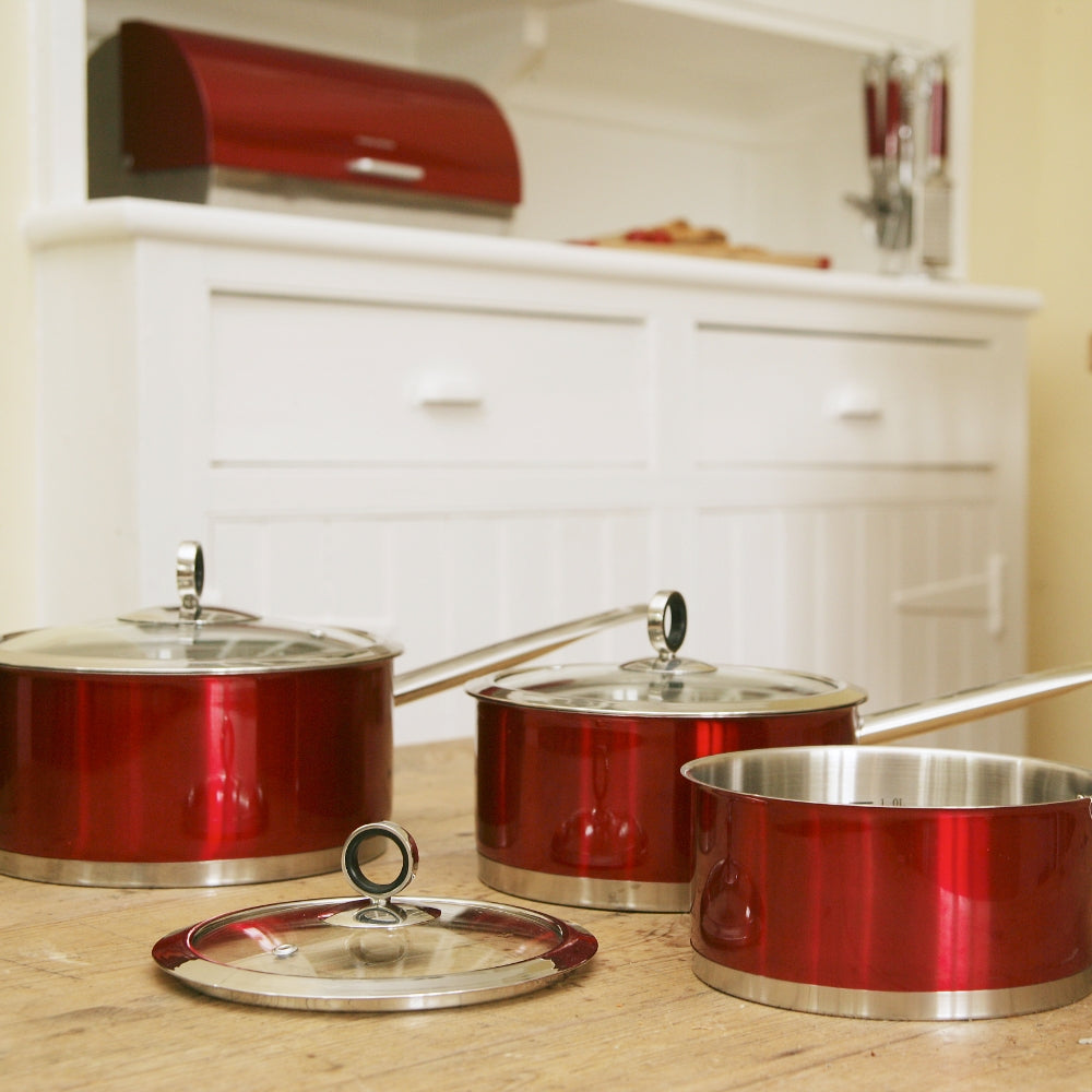 3-Piece Red Pan Set