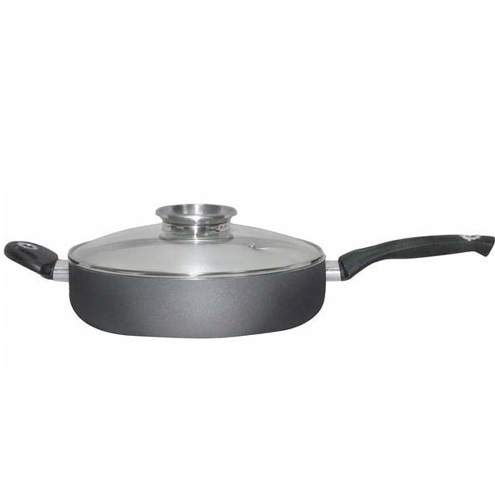 28cm Deluxe Double-Handled BioCeramic Skillet with Tampered Glass Lid & Aroma Knob