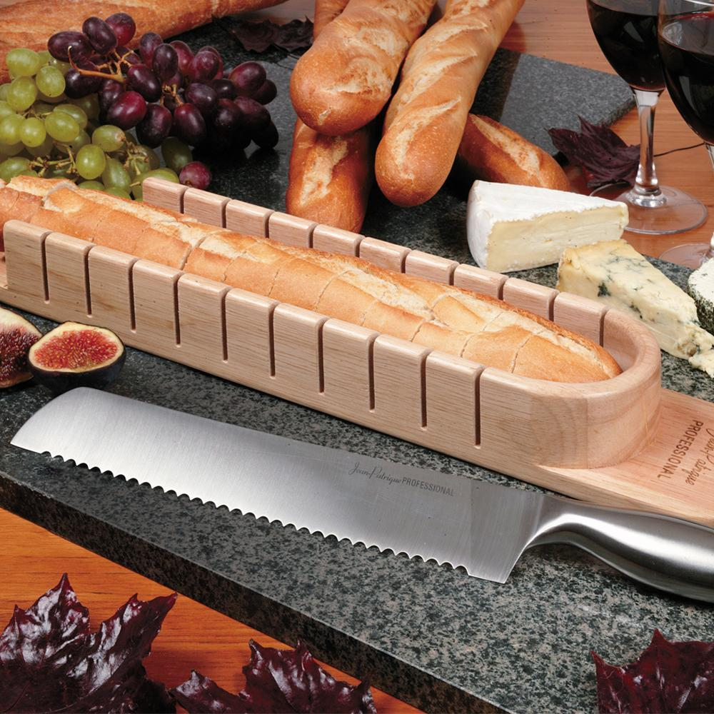 Bread Knife & Solid Beech French Baguette Board