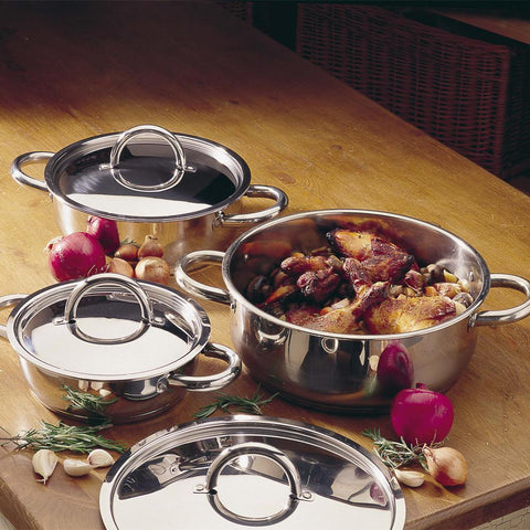 Professional Stainless Steel Low Casserole Pan - 24cm