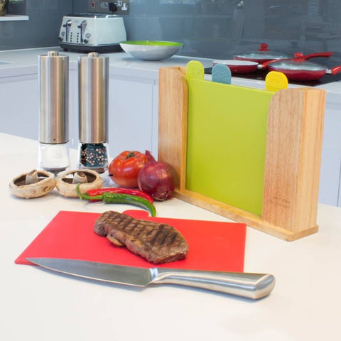 4-Piece Colour-coded Chopping Boards - Wooden