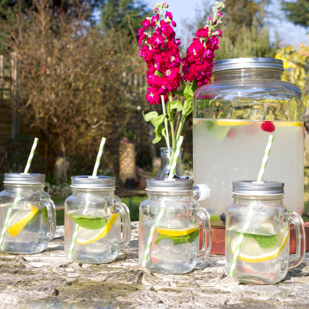 Set of 4 Drinking Jars & Retro Drinks Dispenser with Tap