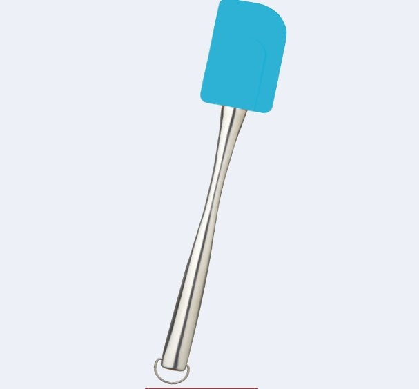 Heat resistant silicone spatula with stainless steel handle - Mediterranean Blue