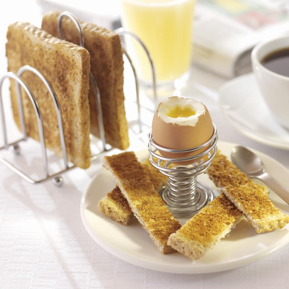 Spiral Chrome Egg Cups and Toast Holder Set