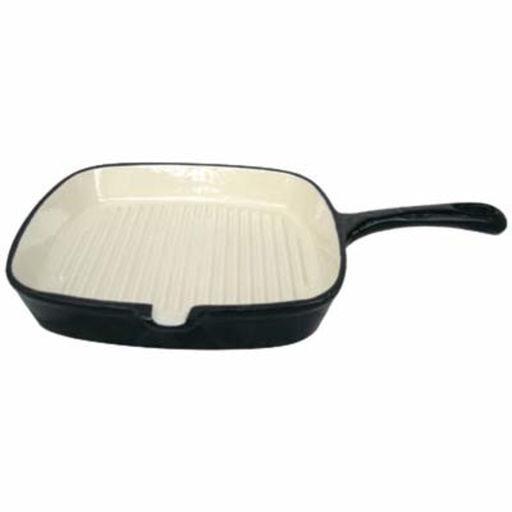 24cm Cast Iron Grill Pan - Black