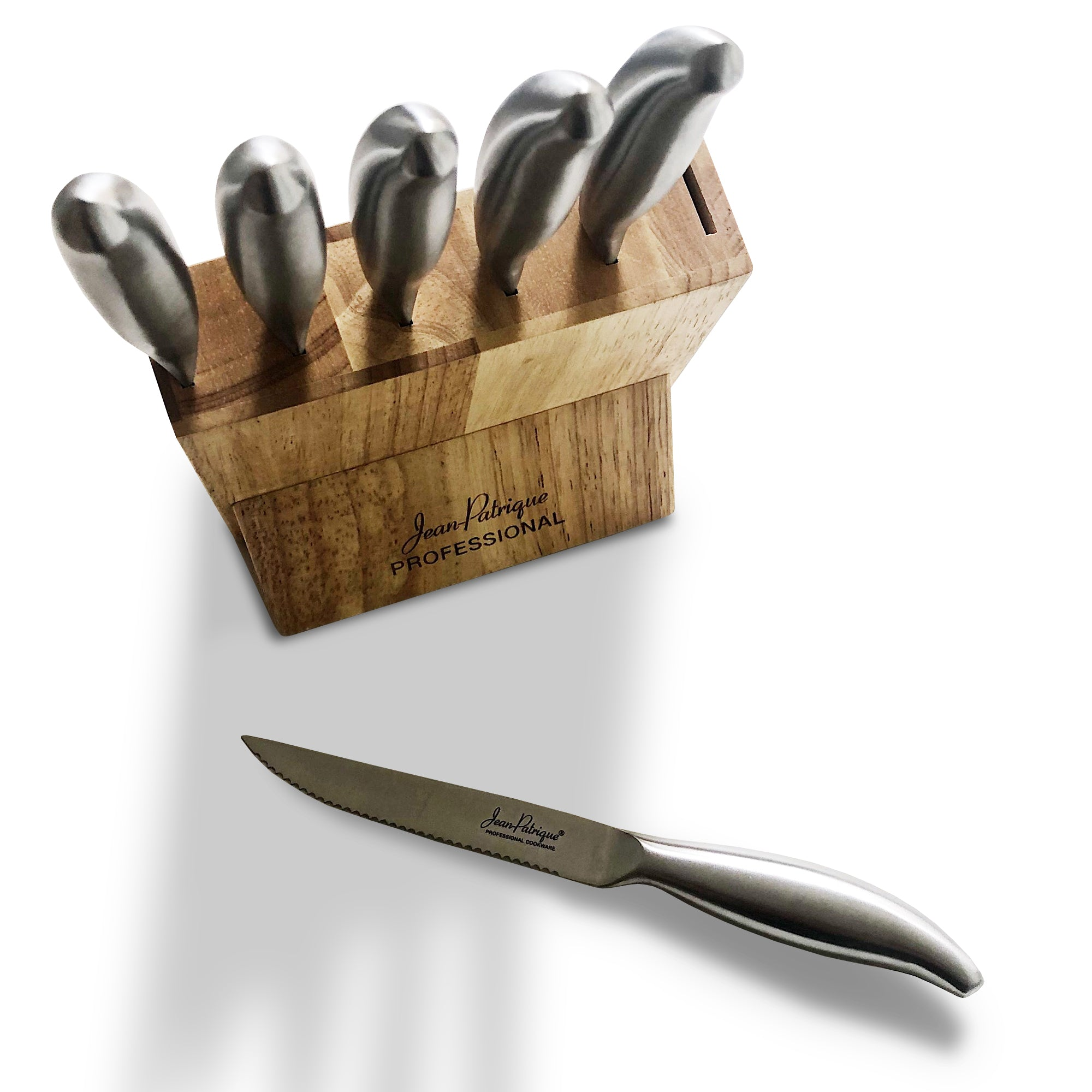 6-Piece Stainless Steel Steak Knife Set with Block